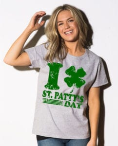 This is the main model photo for the St Patricks Day Shirts: I Love St. Patty's Day