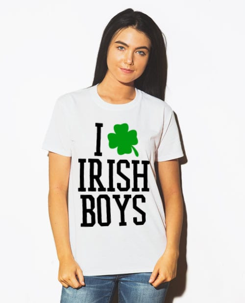 This is the main model photo for the St Patricks Day Shirts: I Love Irish Boys