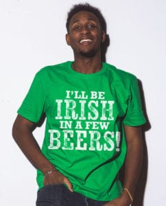 This is the main model photo for the St Patricks Day Shirts: Irish Beer Shirt