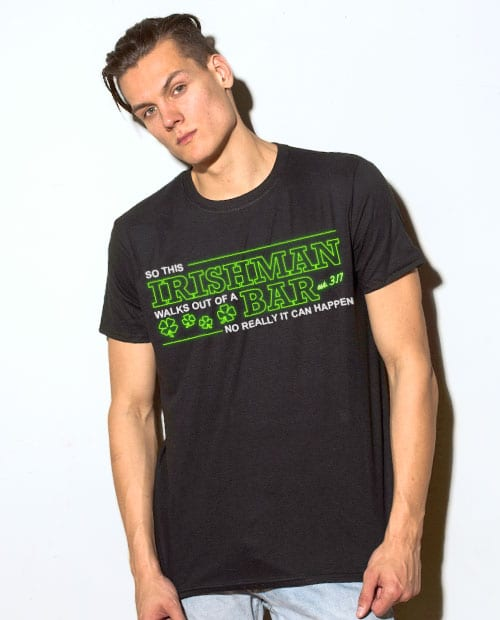 This is the main model photo for the St Patricks Day Shirts: Irishman Bar