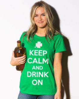 This is the main model photo for the St Patricks Day Shirts: Keep calm and Drink On