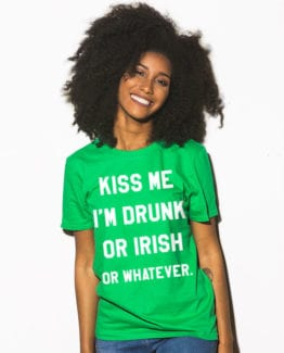 This is the main model photo for the St Patricks Day Shirts: Kiss Me I'm Irish or Drunk
