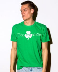 This is the main model photo for the St Patricks Day Shirts: Pog Mo Thoin