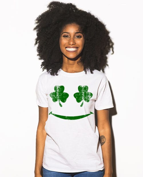 This is the main model photo for the St Patricks Day Shirts: Shamrock Smiley Face