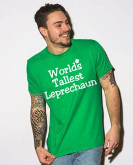 This is the main model photo for the St Patricks Day Shirts: World's Tallest Leprechaun