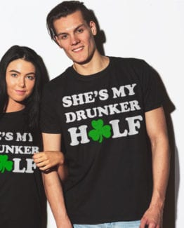 This is the main model photo for the St Patricks Day Shirts: She's My Drunker Half