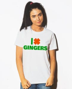 This is the main model photo for the St Patricks Day Shirts: I Love Gingers