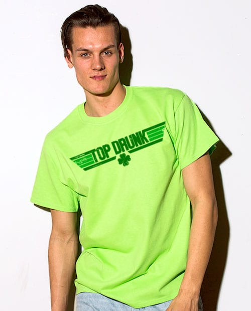 This is the main model photo for the St Patricks Day Shirts: Top Drunk