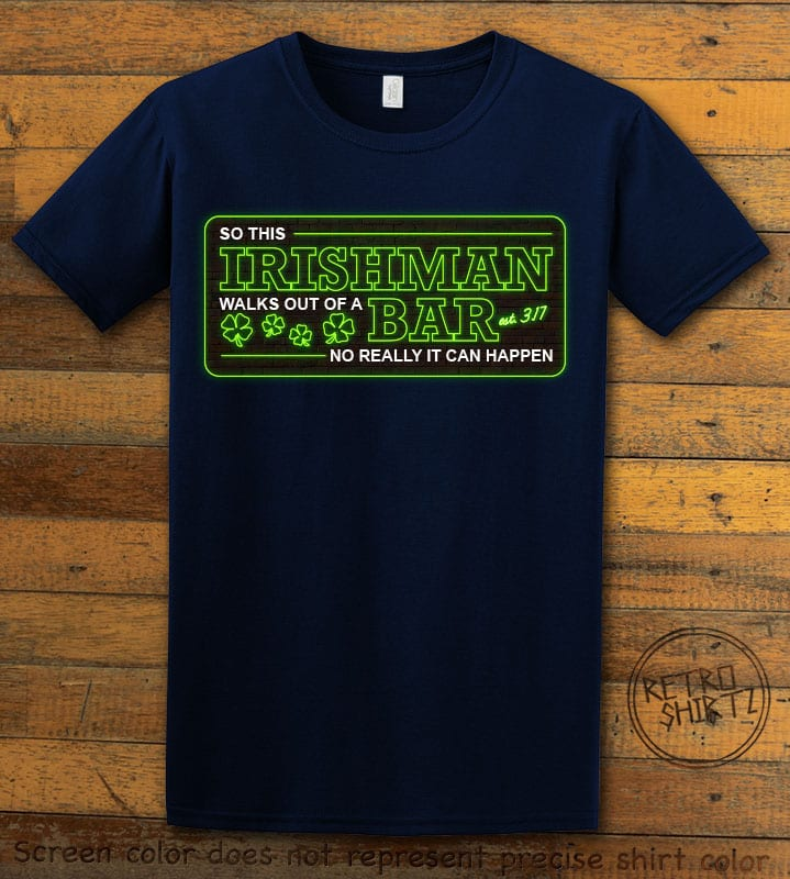 This is the main graphic design on a navy shirt for the St Patricks Day Shirts: Irishman Bar