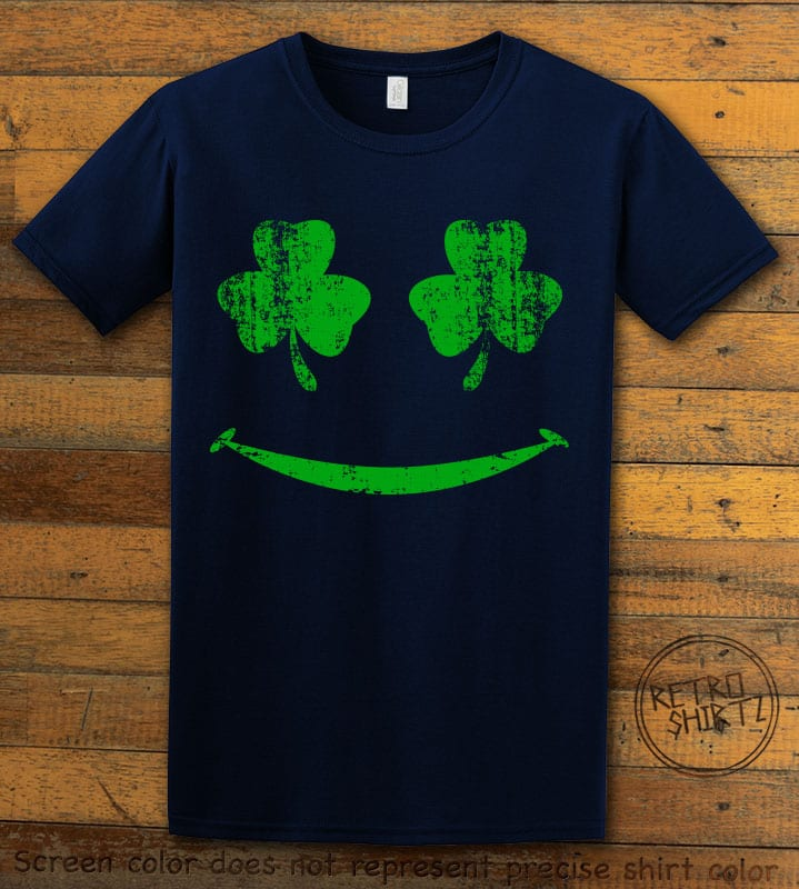 This is the main graphic design on a navy shirt for the St Patricks Day Shirts: Shamrock Smiley Face