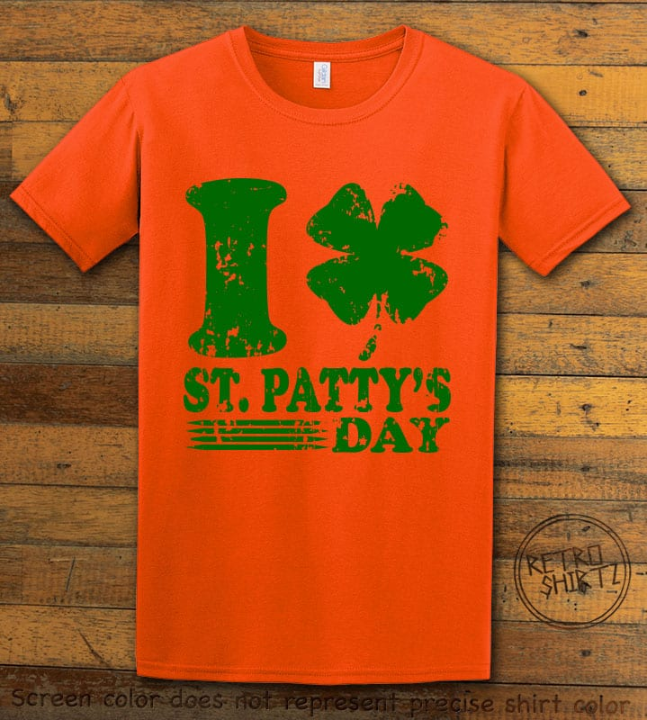 This is the main graphic design on a orange shirt for the St Patricks Day Shirts: I Love St. Patty's Day