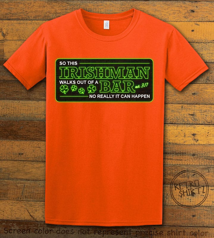 This is the main graphic design on a orange shirt for the St Patricks Day Shirts: Irishman Bar