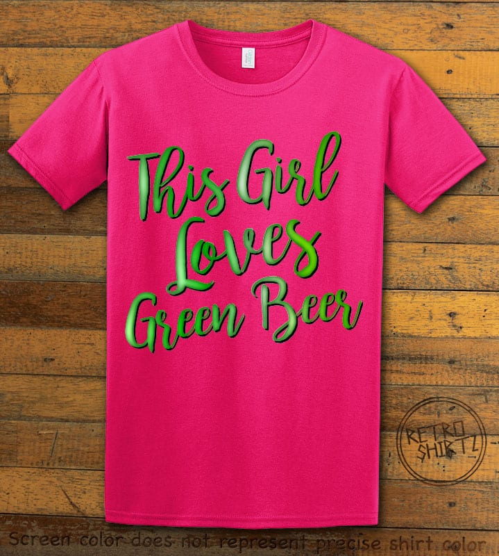 This is the main graphic design on a pink shirt for the St Patricks Day Shirts: This Girl Loves Green Beer