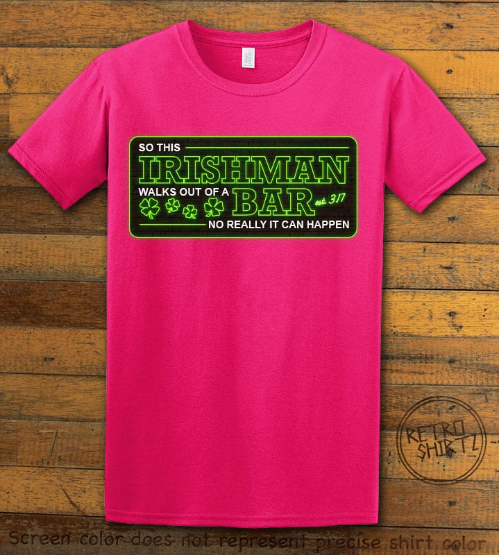 This is the main graphic design on a pink shirt for the St Patricks Day Shirts: Irishman Bar