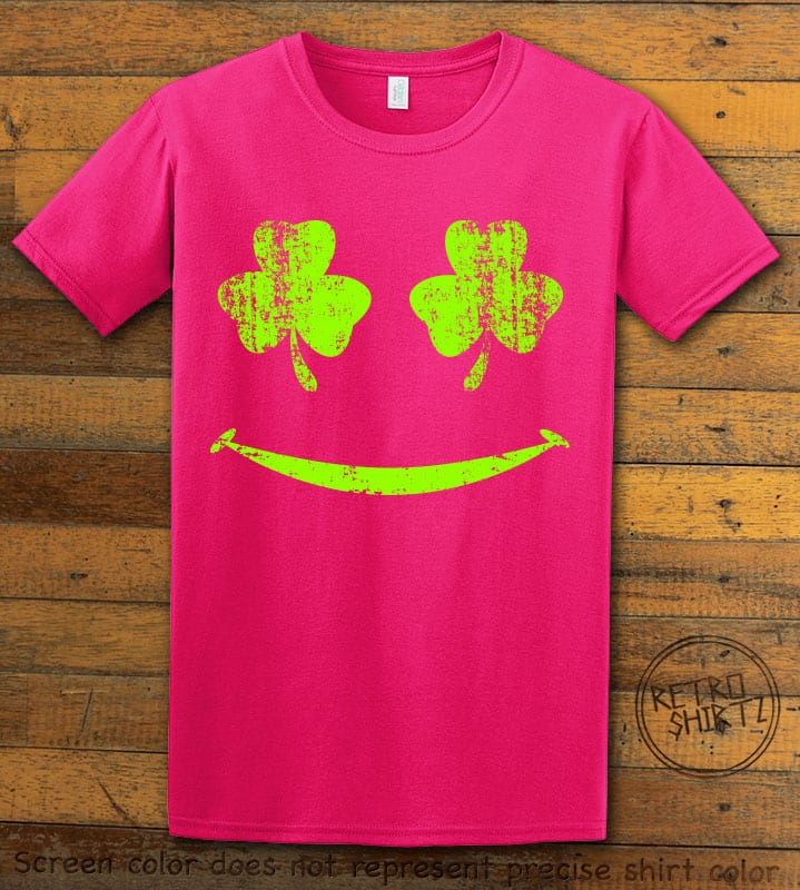 This is the main graphic design on a pink shirt for the St Patricks Day Shirts: Shamrock Smiley Face