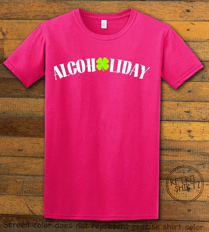 This is the main graphic design on a pink shirt for the St Patricks Day Shirts: Alcoholiday