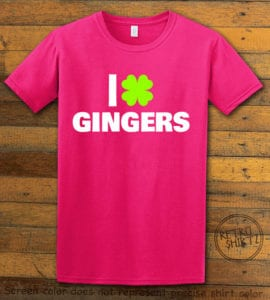 This is the main graphic design on a pink shirt for the St Patricks Day Shirts: I Love Gingers
