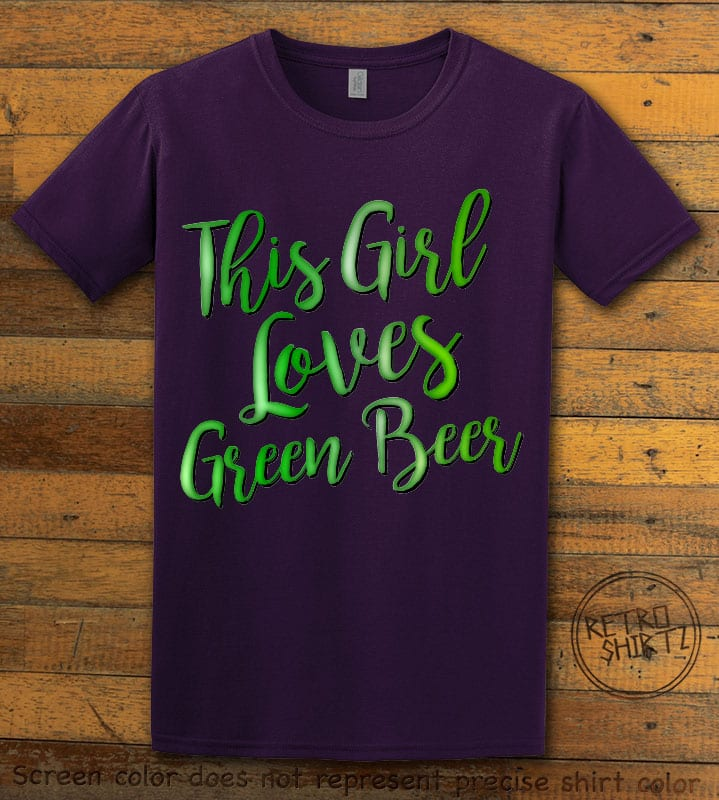 This is the main graphic design on a purple shirt for the St Patricks Day Shirts: This Girl Loves Green Beer