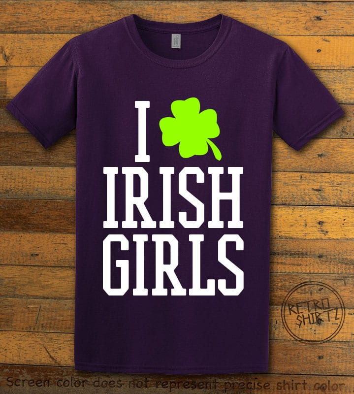 This is the main graphic design on a purple shirt for the St Patricks Day Shirts: I Love Irish Girls