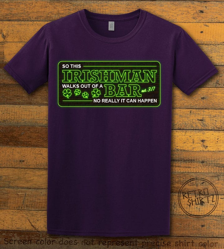 This is the main graphic design on a purple shirt for the St Patricks Day Shirts: Irishman Bar