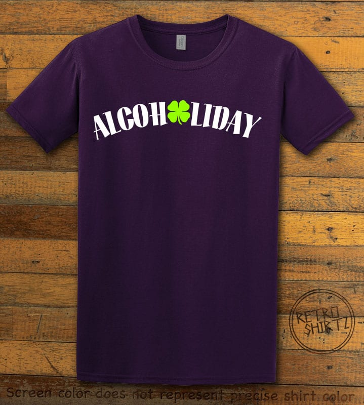 This is the main graphic design on a purple shirt for the St Patricks Day Shirts: Alcoholiday