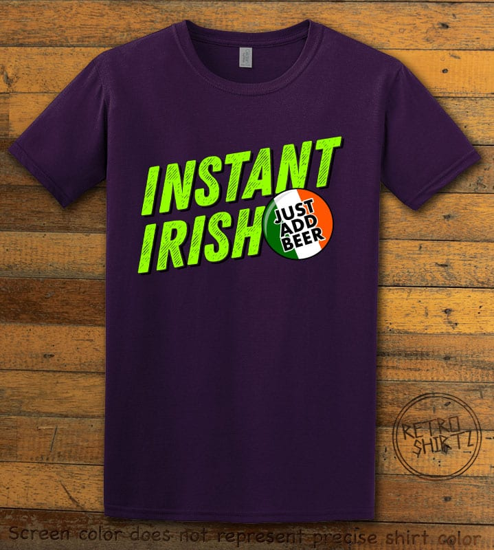 This is the main graphic design on a purple shirt for the St Patricks Day Shirts: Instant Irish
