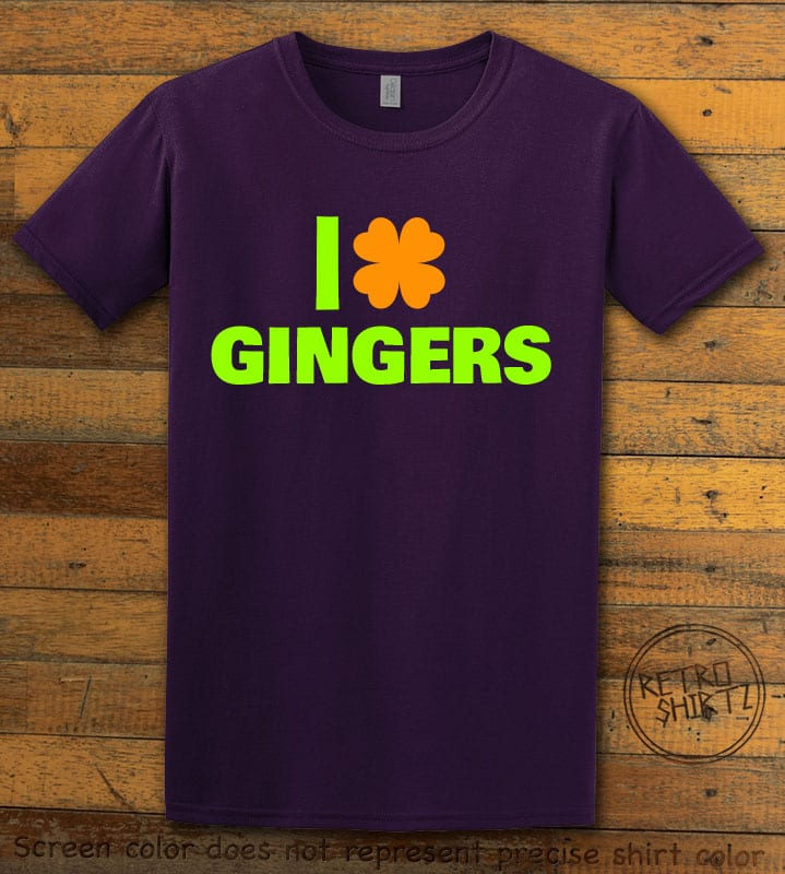 This is the main graphic design on a purple shirt for the St Patricks Day Shirts: I Love Gingers