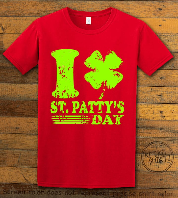 This is the main graphic design on a red shirt for the St Patricks Day Shirts: I Love St. Patty's Day