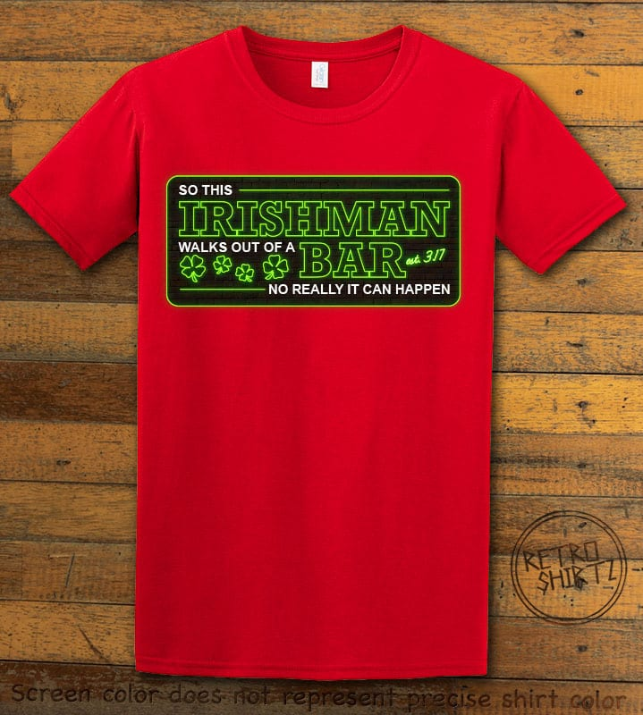 This is the main graphic design on a red shirt for the St Patricks Day Shirts: Irishman Bar