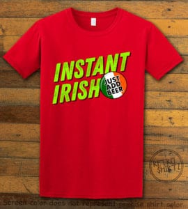 This is the main graphic design on a red shirt for the St Patricks Day Shirts: Instant Irish