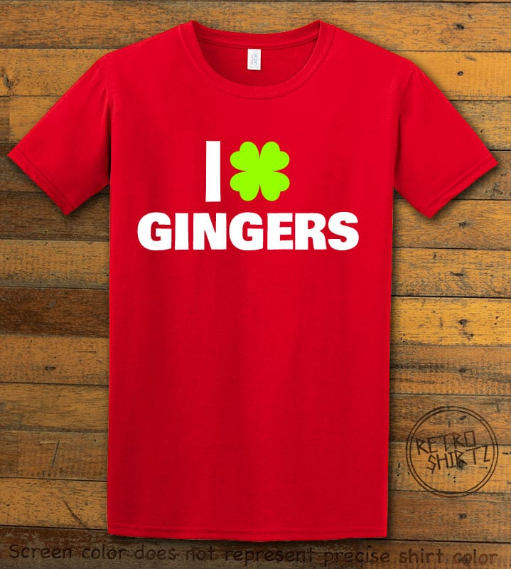 This is the main graphic design on a red shirt for the St Patricks Day Shirts: I Love Gingers