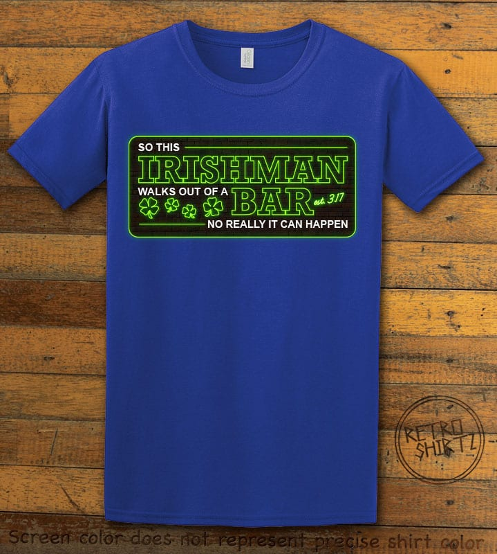 This is the main graphic design on a royal shirt for the St Patricks Day Shirts: Irishman Bar