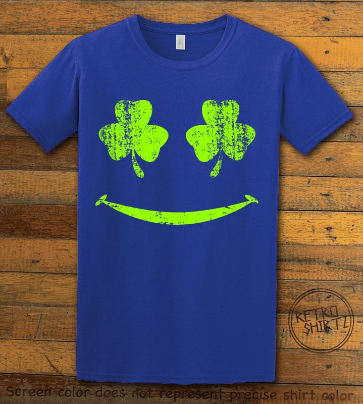 This is the main graphic design on a royal shirt for the St Patricks Day Shirts: Shamrock Smiley Face