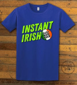 This is the main graphic design on a royal shirt for the St Patricks Day Shirts: Instant Irish