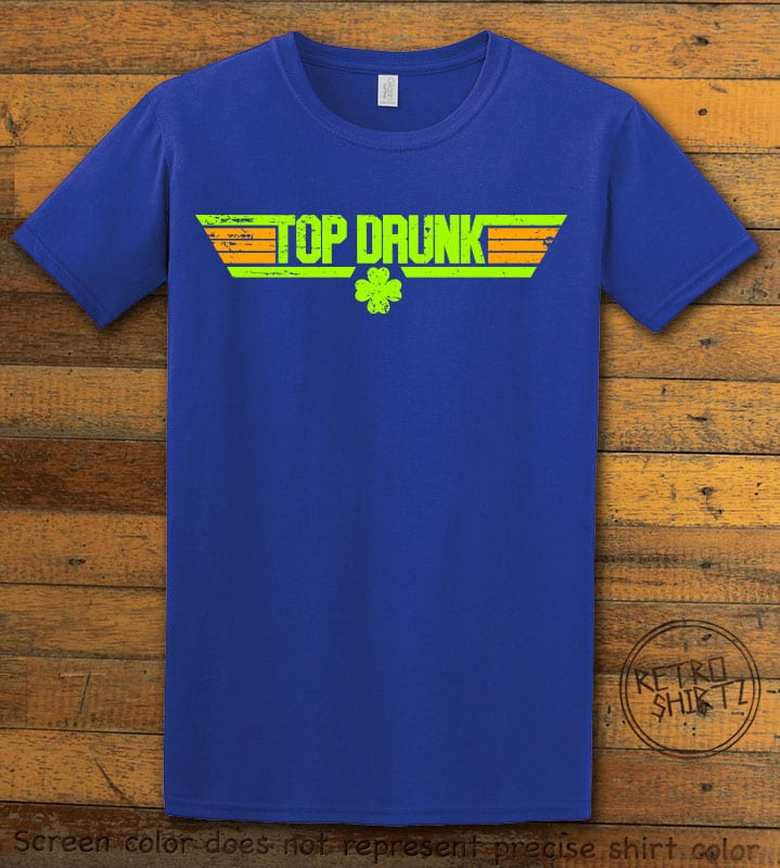 This is the main graphic design on a royal shirt for the St Patricks Day Shirts: Top Drunk