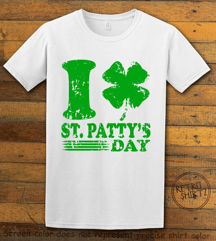 This is the main graphic design on a white shirt for the St Patricks Day Shirts: I Love St. Patty's Day