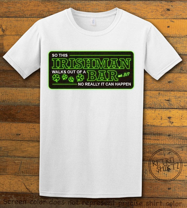 This is the main graphic design on a white shirt for the St Patricks Day Shirts: Irishman Bar