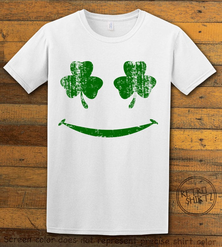 This is the main graphic design on a white shirt for the St Patricks Day Shirts: Shamrock Smiley Face