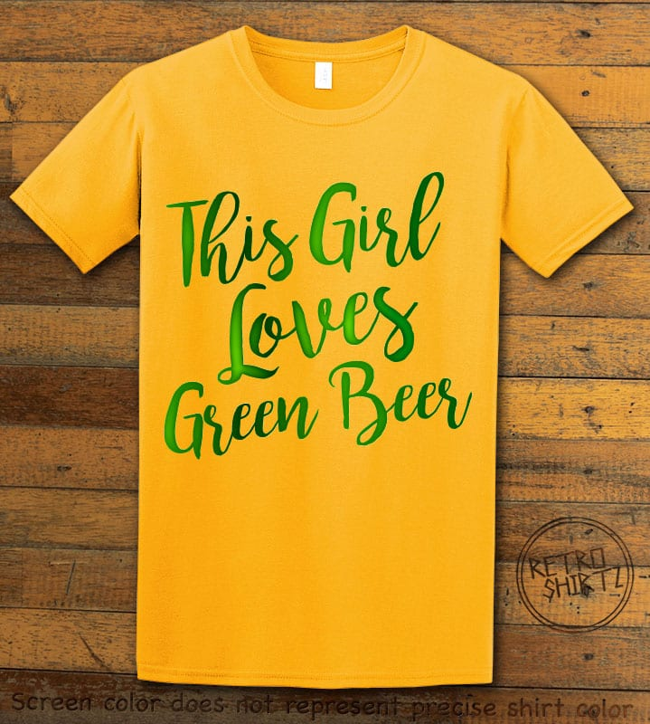 This is the main graphic design on a yellow shirt for the St Patricks Day Shirts: This Girl Loves Green Beer