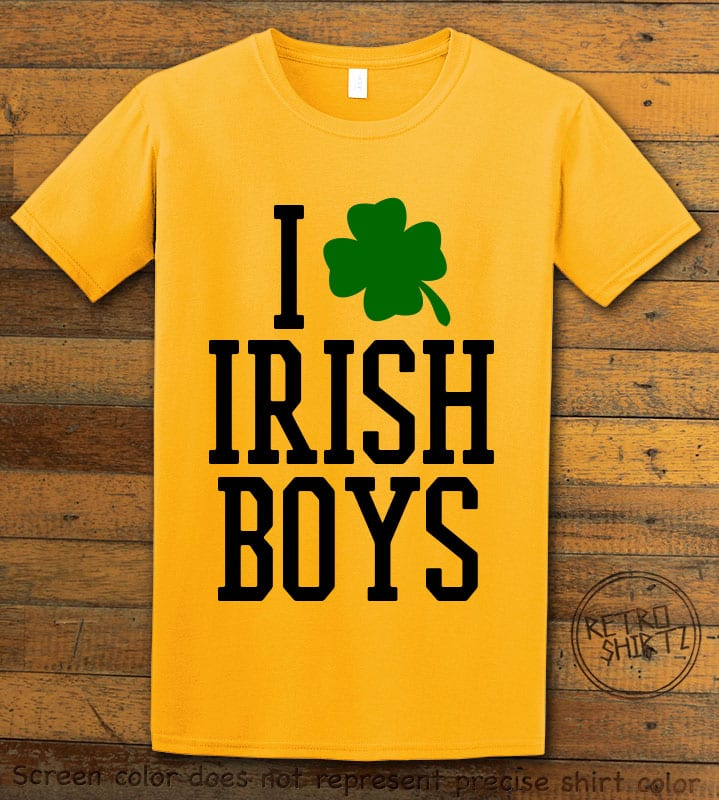 This is the main graphic design on a yellow shirt for the St Patricks Day Shirts: I Love Irish Boys