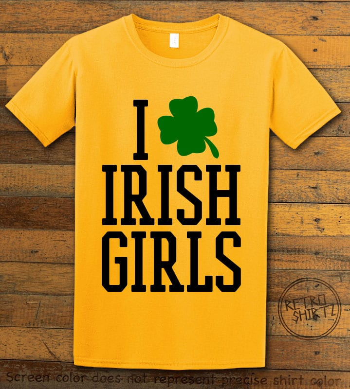 This is the main graphic design on a yellow shirt for the St Patricks Day Shirts: I Love Irish Girls