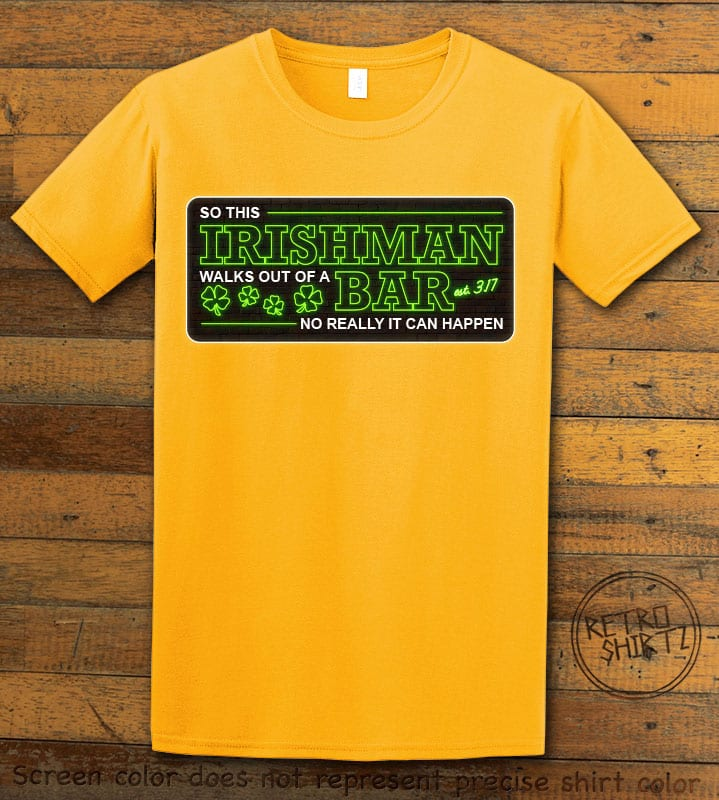 This is the main graphic design on a yellow shirt for the St Patricks Day Shirts: Irishman Bar