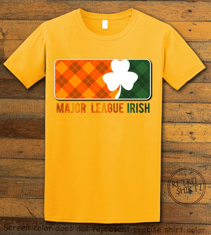 This is the main graphic design on a yellow shirt for the St Patricks Day Shirts: Major League Irish