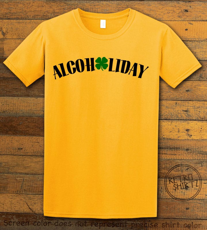 This is the main graphic design on a yellow shirt for the St Patricks Day Shirts: Alcoholiday
