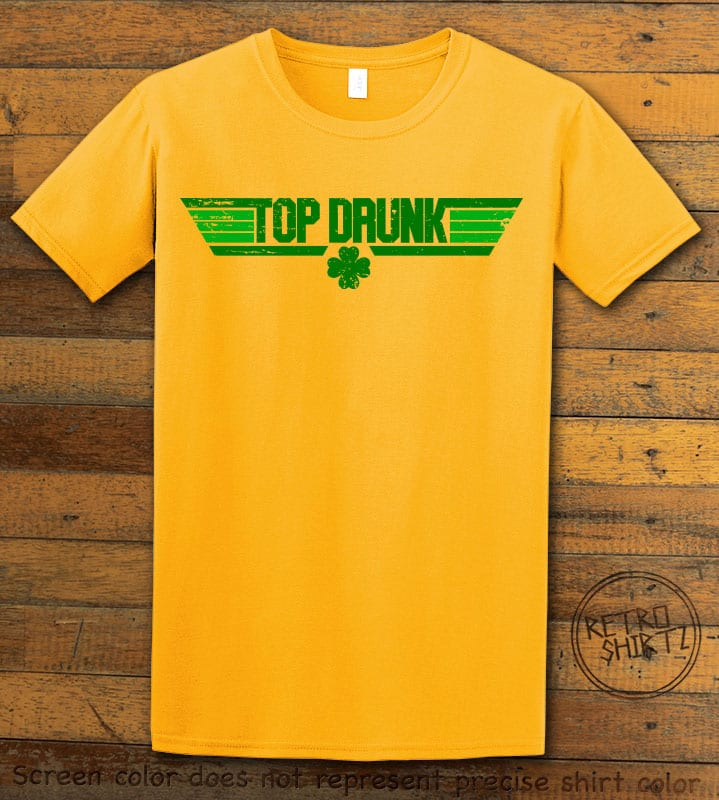 This is the main graphic design on a yellow shirt for the St Patricks Day Shirts: Top Drunk