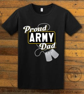 This is the main graphic design on a black shirt for the: Proud Army Dad