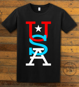 This is the main graphic design on a black shirt for the: USA Vertical