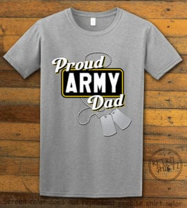 This is the main graphic design on a gray shirt for the: Proud Army Dad