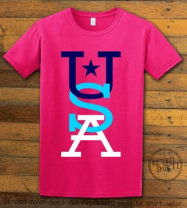 This is the main graphic design on a pink shirt for the: USA Vertical