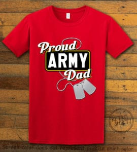 This is the main graphic design on a red shirt for the: Proud Army Dad